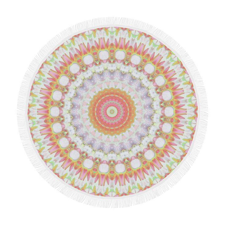 "Pink Mandala Circular Beach Shawl 59""x 59""."