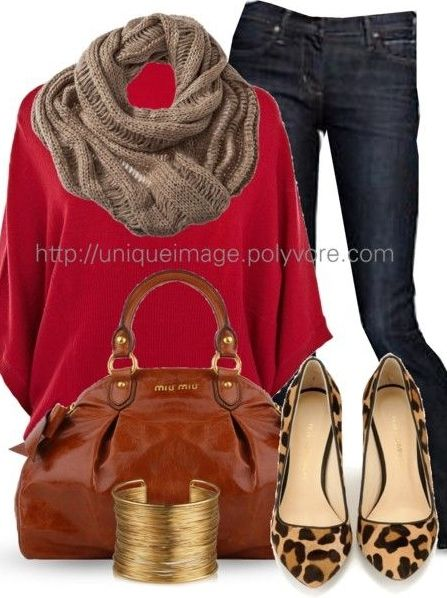 Brown Leopard Gold Red Jeans Outfit
