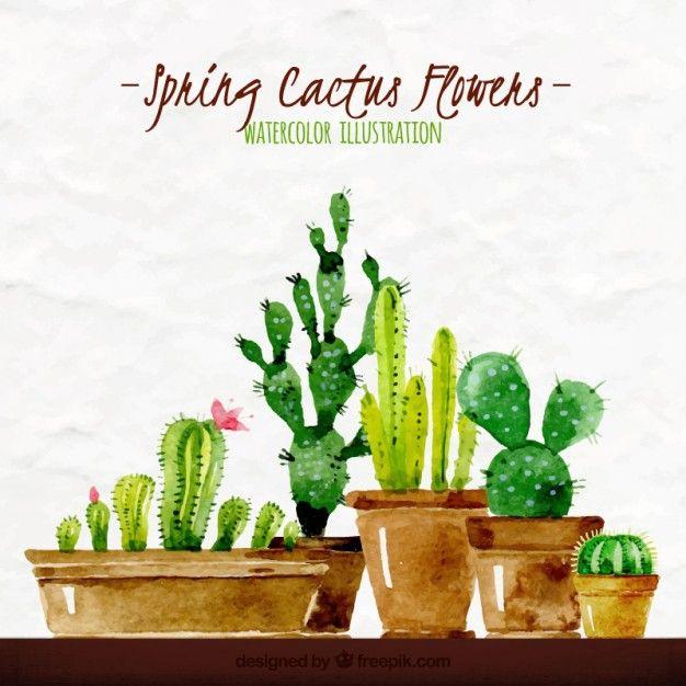 Aquarela primavera cactus ilustração Vetor grátis