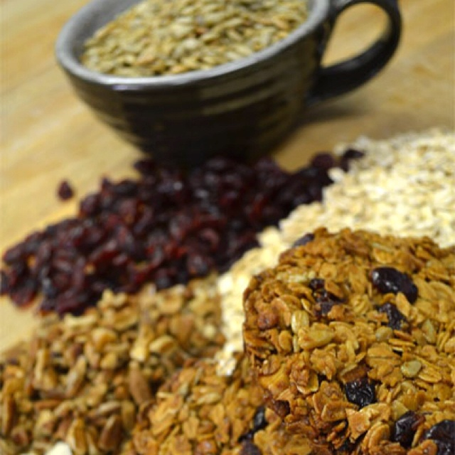 Bread Head Granola Pucks. Locally sourced honey, oats, cranberries and other great stuff.