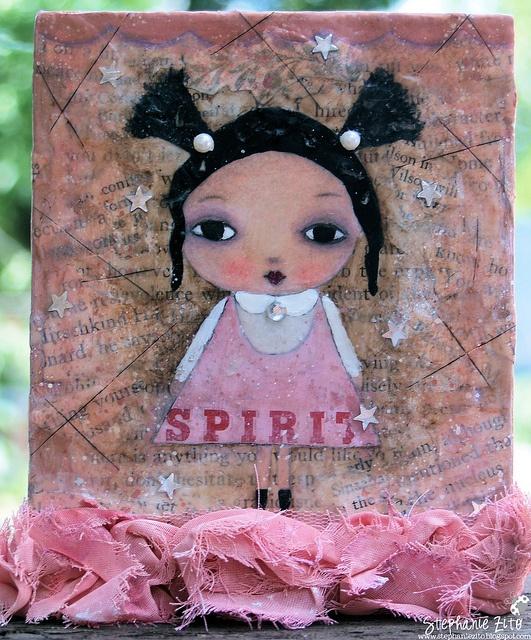 Spirit Girl mixed media wooden canvas inspired by Suzy Blu's La Petite Dolls workshop.