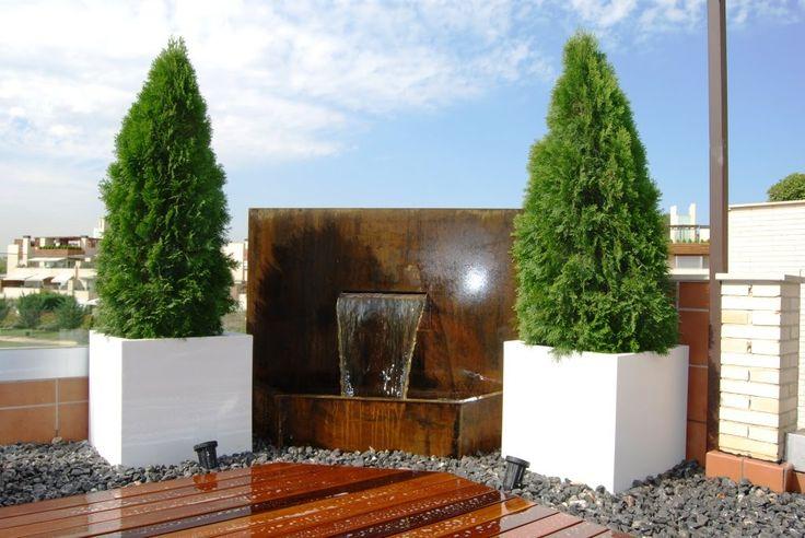 aticos y terrazas elementos de decoracion agua fuente