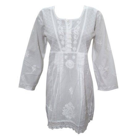 Mogul Womens White Cotton Hand Embroidered  Festive Tunic Top Kurti Blouse  https://www.walmart.com/search/?grid=true&page=2&query=MOGUL+INTERIOR+TOP#searchProductResult