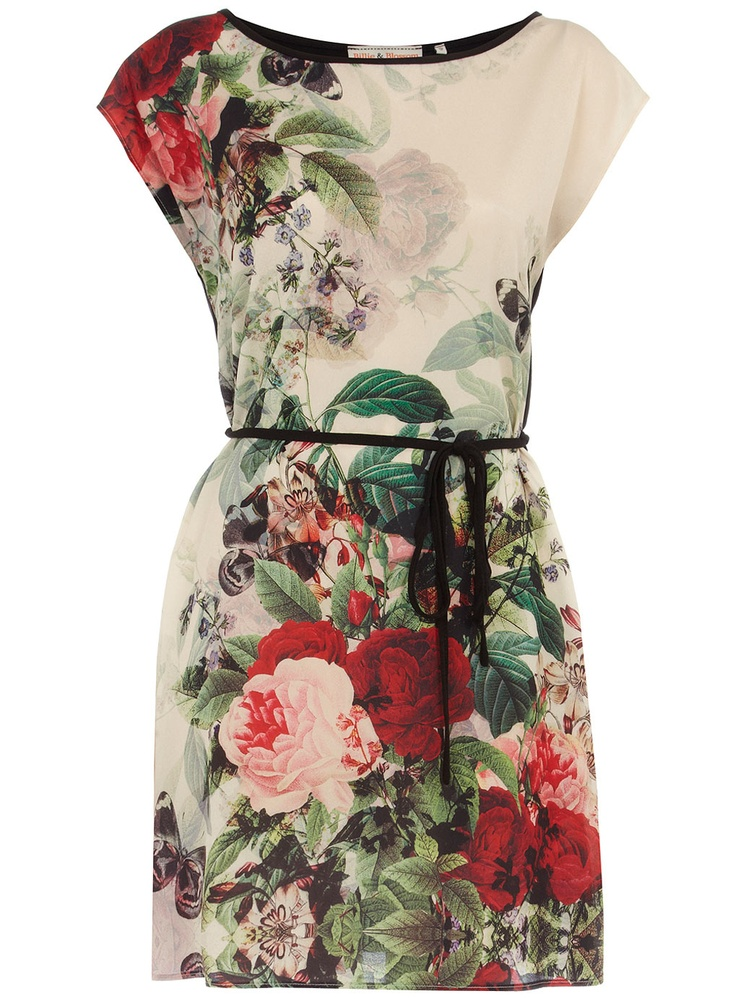 Red butterfly print dress ~ Dorothy Perkins