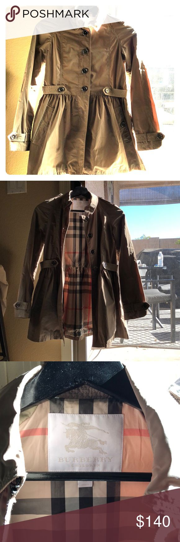 Burberry Youth Girls trench coat Size: 12Y (152 cm) In good condition, normal wear. All buttons in tact Burberry Jackets & Coats