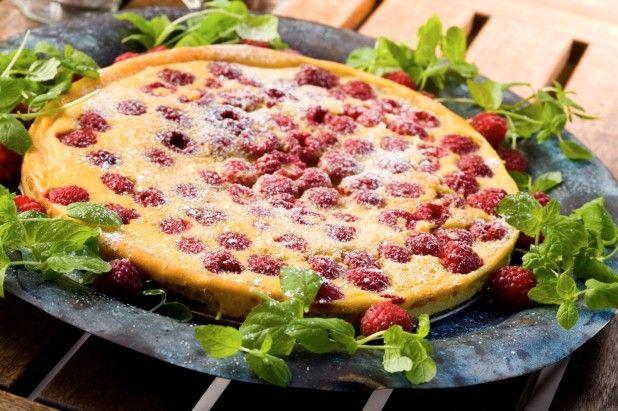 Restemat oppskrift - Clafoutis med bringebær – Matvett