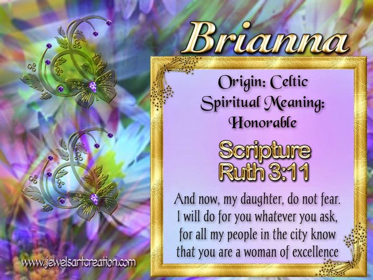 Name meanings, spiritual name meanings, Brianna, name graphics, custom made posters