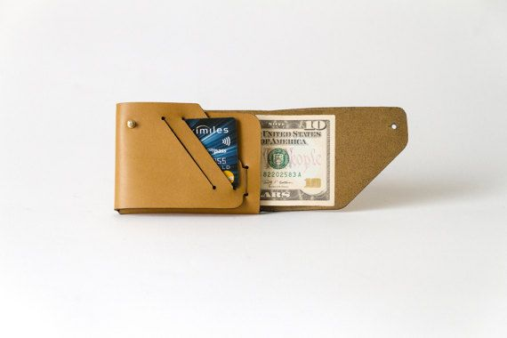 Mone'Fold Seamless Leather Wallet - Mustard Yellow Color - Minimalist Folded - Genuine Leather