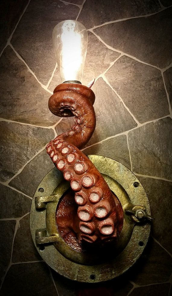 Amazing Nautical Tentacle Porthole Lamp by EpochCreations. $600....WAY too expensive but very cute