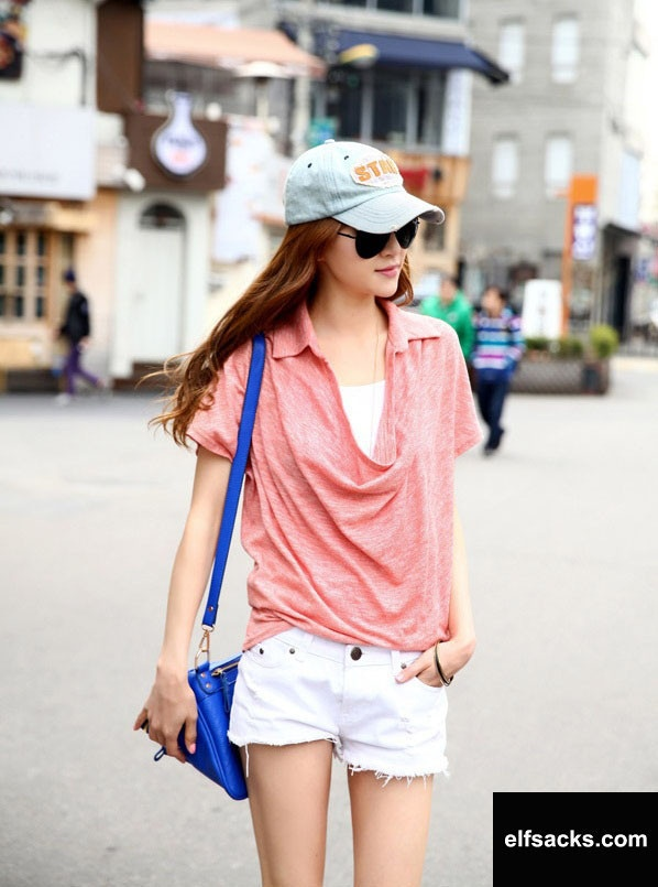 Womens Loose Polo Collar Short Sleeve Solid Pink Tshirt
