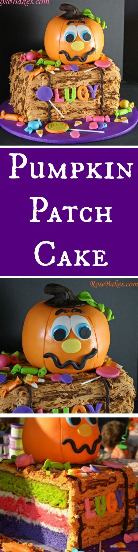 Pumpkin Patch Cake with a Bale of Hay and Candy by RoseBakes