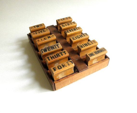 Set of Wooden Money Order Stamps Rubber Wooden Crate by JackpotJen