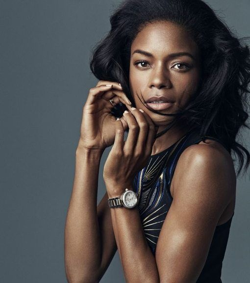 Naomie Harris with the limited edition Omega Seamaster 300 Spectre