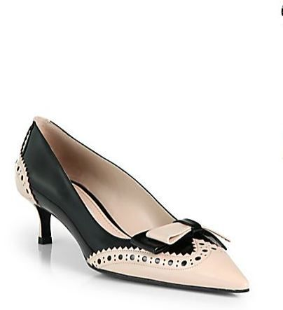 miu miu bicolor kitten heel pumps in black nude shoes. Black Bedroom Furniture Sets. Home Design Ideas