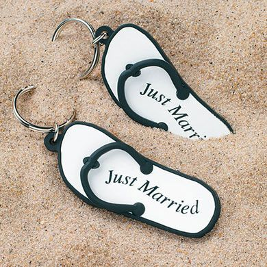 Mini Flip Flop 'Just Married' Key Chains