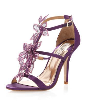 Renita Mesh Flower Sandal, Plum by Badgley Mischka at Last Call by Neiman Marcus.