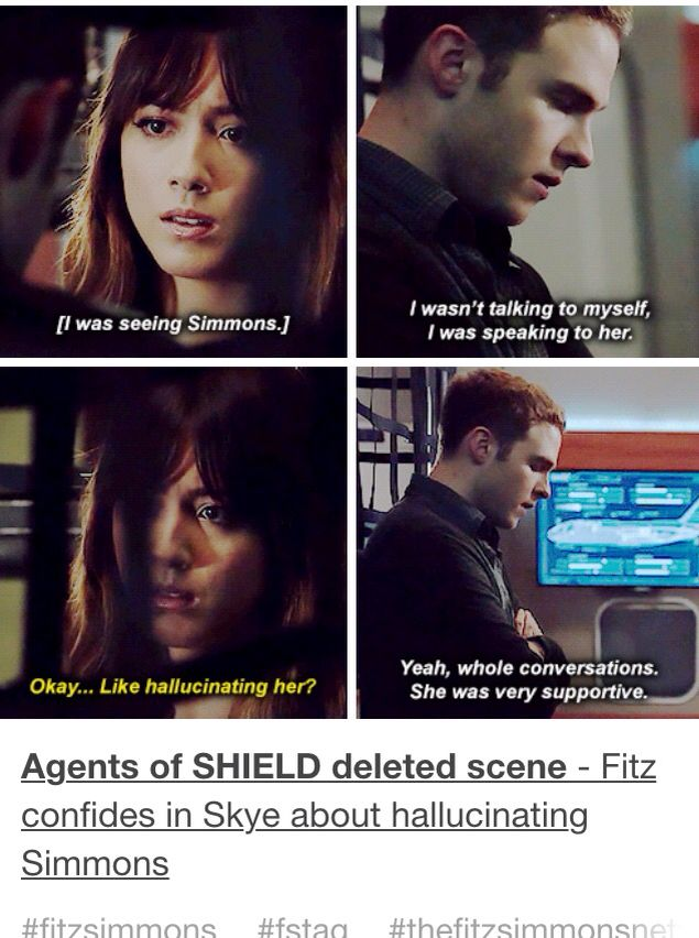 WHY WASN'T THIS LEFT IN? I really think that we need more scenes of Skye and Fitz in the series.<---- yes!