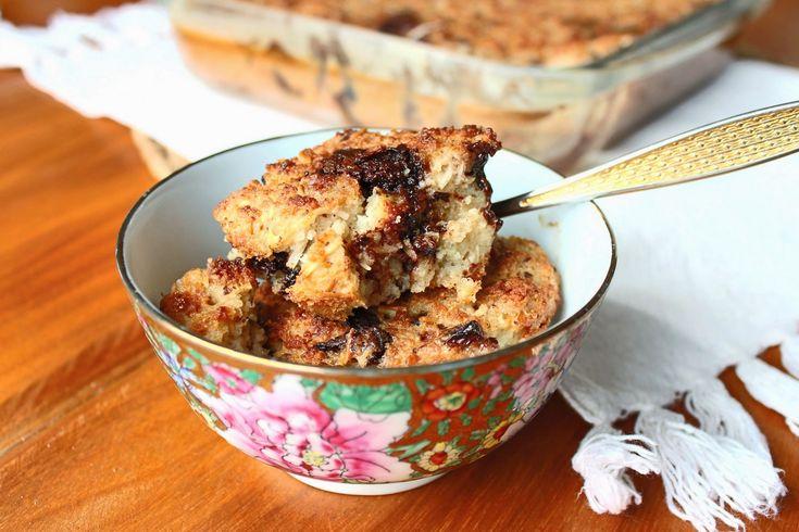 Melinda na Cozinha: pudim de pão com chocolate, passas e coco (sem glú...