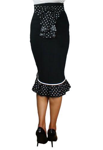 Black High Waist Rockabilly Pin Up Ruffled Pencil Skirt with Polka Dots | eBay