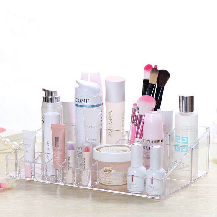 Crystal Acrylic Cosmetic Organizer box Cosmetic storage box for woman Makeup Display Box Stand Rack Holder Organizer Toilet case