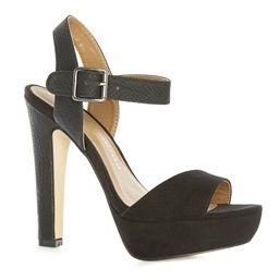 Sandales habillées en mélange de matières effet serpent noires