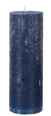 Höga mörkblå Blockljus rustik 20 cm - Marinblå