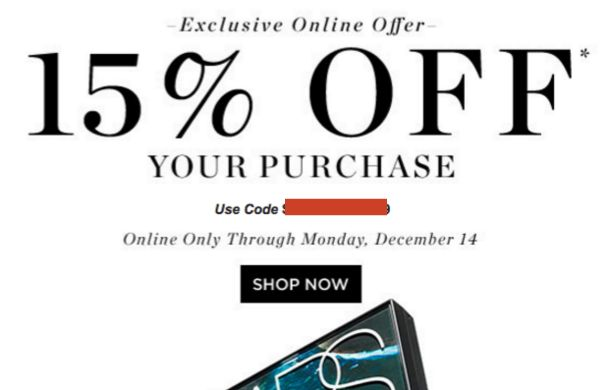 Saks 15% or 20% off email exclusive coupon code