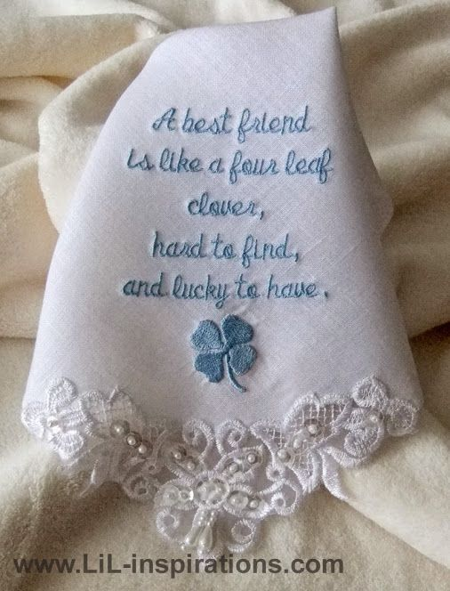 Embroidered wedding handkerchief. Custom made and personalized bridal hankies for bride, mother of the bride and bridesmaids. Created in luxurious linen or incredibly soft cotton for an elegant bridal keepsake to treasury always.