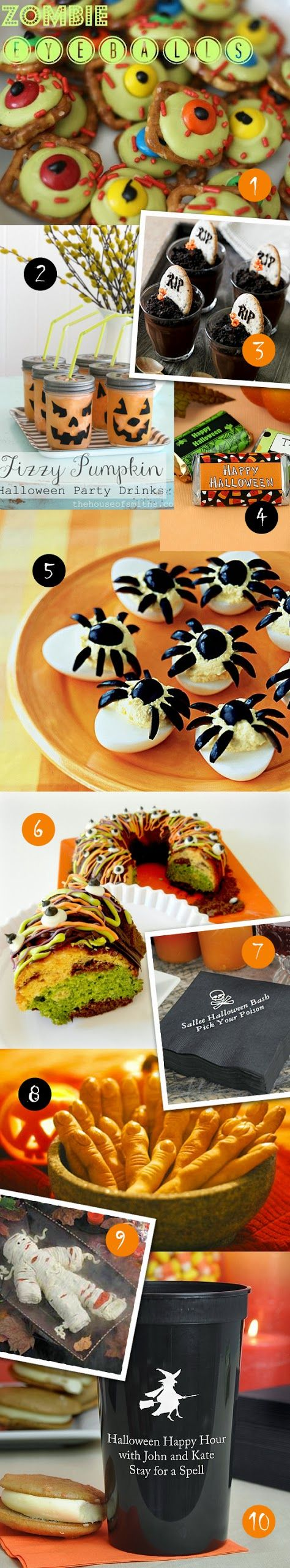 10 Easy Halloween Treats  OMG, look at those deviled spider eggs !~!~!  ;-)