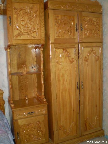 Резное.ру - бельевой шкаф, Материал: дуб,липа, Размеры: 225/100/50см.