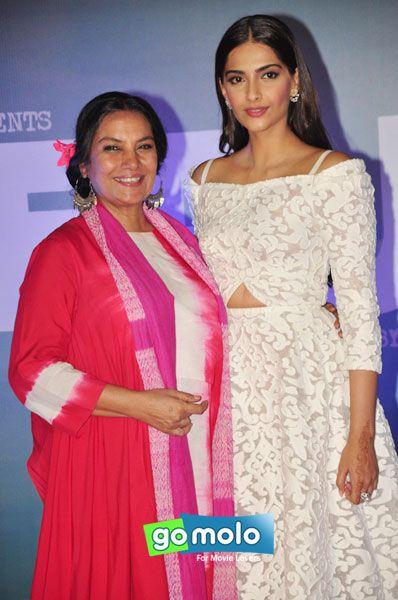 Shabana Azmi & Sonam Kapoor at the Trailer launch of Hindi movie 'Neerja' at PVR Cinemas in Juhu, Mumbai