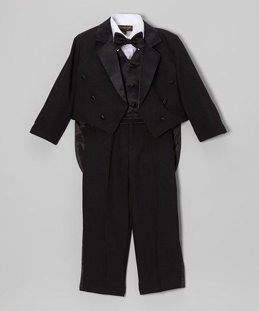 Take a look at this Black Five-Piece Coattail Tuxedo Set - Infant, Toddler & Boys by Silver Suit on #zulily today!