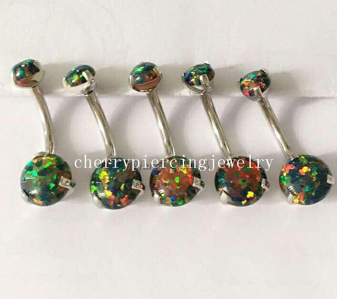 Body Piercings – Surgical Steel ProngSet Fire Opal Belly Navel Ring – a unique product by cherrypiercingjewelry on DaWanda