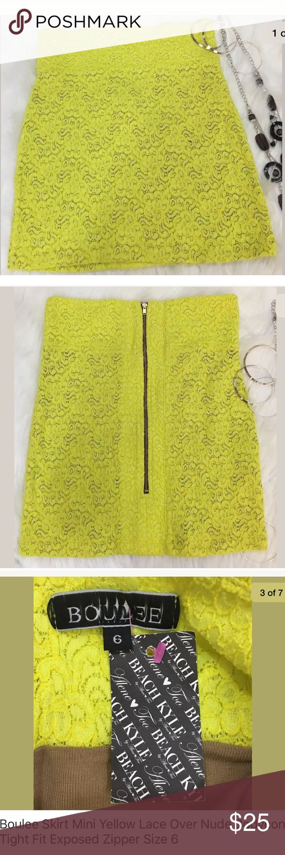 """Boulee Skirt Mini Scuba Yellow Lace Exposed Zip Boulee Mini Skirt  Yellow Lace Over Nude  Bodycon  Tight Form Fit  Exposed Zipper  Scuba Style  Body conscious fit  Yellow Lace overlaying a solid lining  Made in the USA  Size 6  Please see my measurements below and please know your measurements prior to purchase  Lying Flat  Waist Side to Side: 13""""  Top of waist to bottom hem:16.5""""  MSRP $231 Boulee Skirts Mini"""