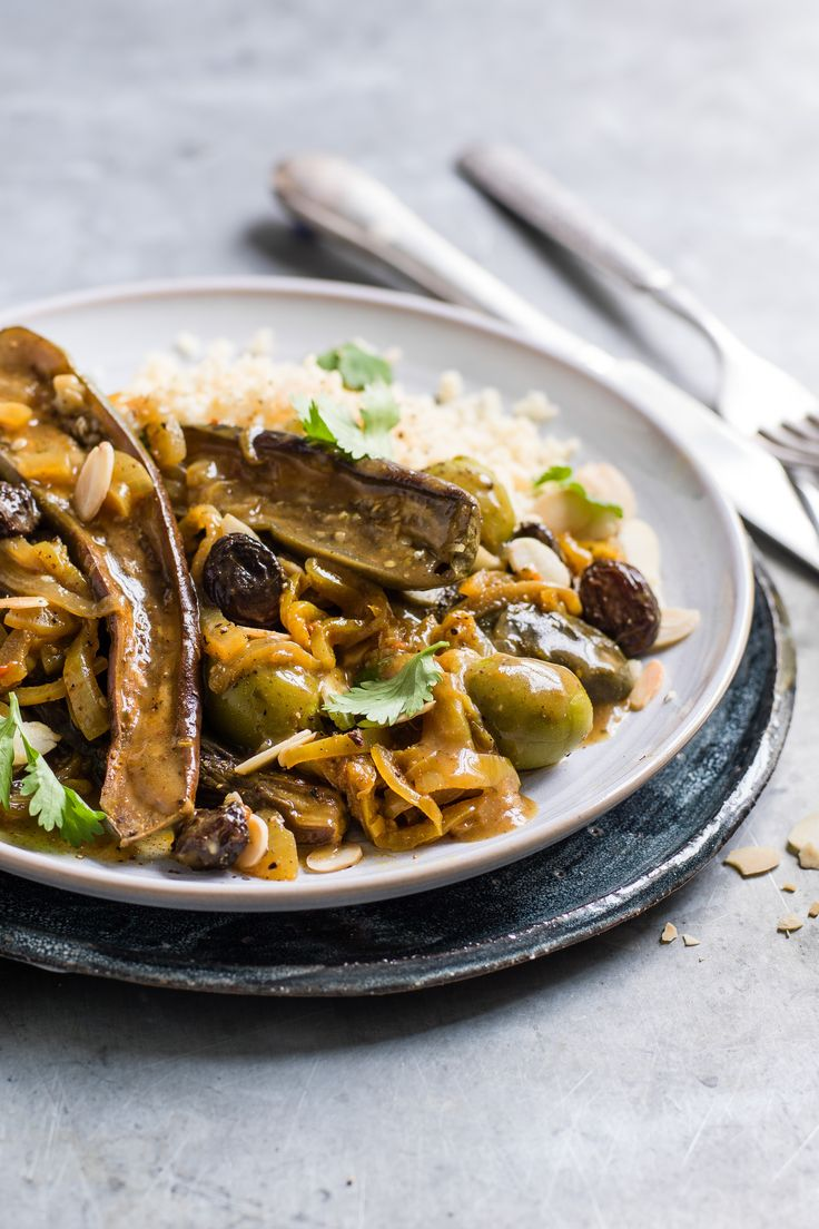 Flavoured with green olives, preserved lemon, harrisa paste and fragrant spices, this punchy vegetarian aubergine tagine recipe is perfect to enjoy with friends, and can be made in a slow cooker. | Tesco