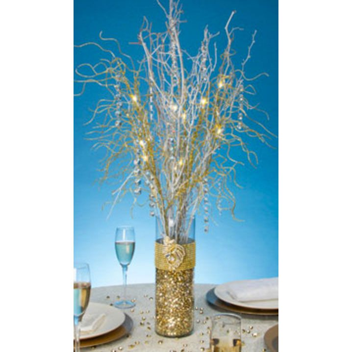 Battery Operated LED Lighted Branch Spray In Gold2