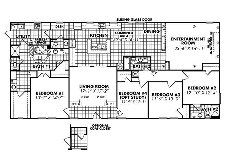 Best 25 mobile home floor plans ideas on pinterest for 55 wide house plans