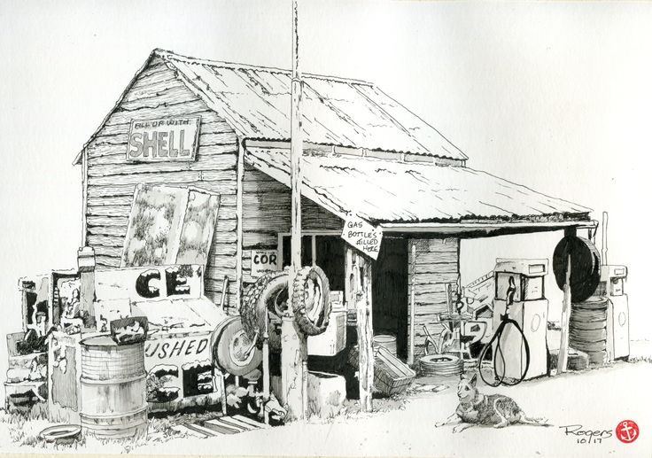 A Preliminary sketch for a watercolour artwork of an old Service Station at Wood's Point in Victoria Australia.  (Artwork by Kevin N Rogers 2017)