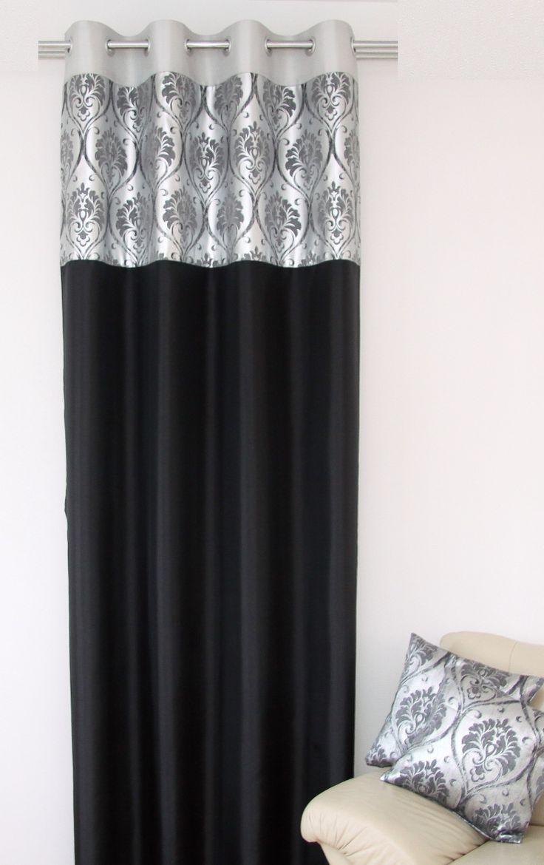 Czarne luksusowe zasłony ze srebnym ornamentem