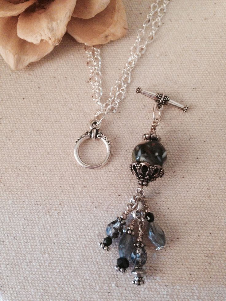 Pretty Black and Gray Beaded Necklace- Love the interchangeable pendant! Beaded beads would looks awesome!