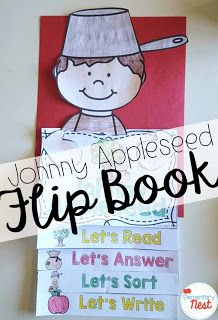 johnny appleseed reading flip book- September Activities and primary resources plus three FREEBIES- fun ELA, math, and social studies activities for students during the month of September