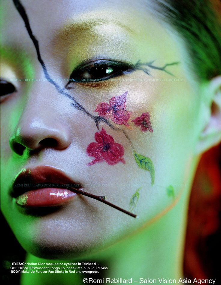 #RemiREBILLARD #Photography Artist represented by #VisionairsinArt #Salon_Vision #Artist Agency. Portrait Japanese Beauty - Flowers - Make Up - Magazine - Editorial - Green