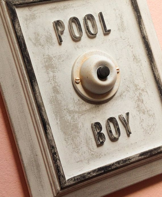 Pool Boy concrete sign on Etsy, $52.00