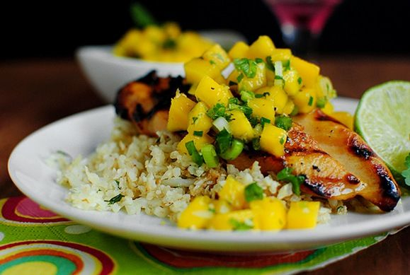 Key West grilled chicken with cilantro lime cauliflower rice,  great summer dish! I think I would use brown rice instead of cauliflower.