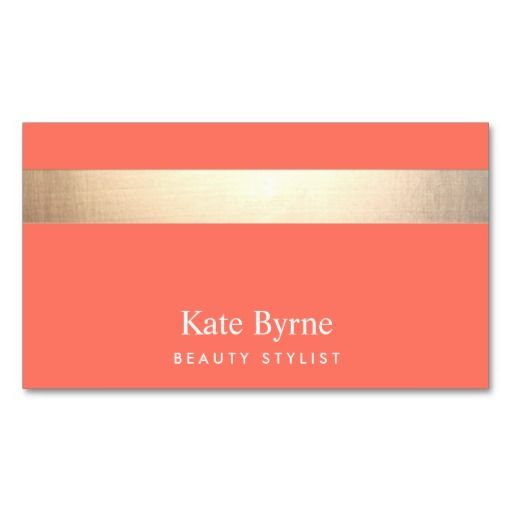 Gold Colored Striped Modern Stylish Coral Business Cards. Great card for interior designers, event planners, beauty consultants, hair salons, fashion boutiques and more.