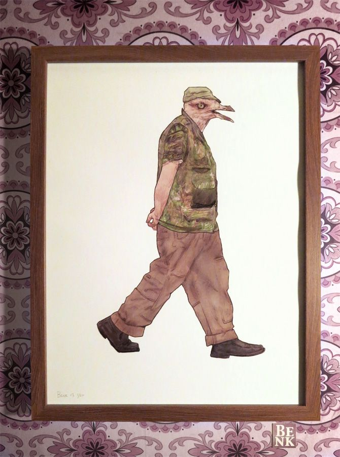 This is a Signed and Framed Limited Edition Illustration Print with an Edition of Twenty.  Artist: Benk Title: 'Step: Caught in Motion' Size: 33cm x 43cm  The irony is that this man's camouflage will really stand out on your wall.