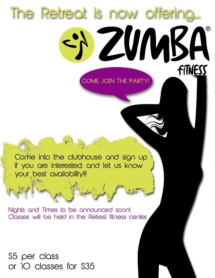 Flyer advertisement for Zumba classes Indigo & Ivory