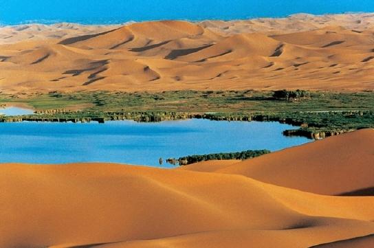 이곳은 오아시스이다. 이또한 사막에서 자주 보이는 모습으로 사막에는 증발량이 강수량에 비해 커 지표에는 물이 있기 드물지만, 지하수가 지표면과 만나면 이처럼 오아시스가 생긴다. 이곳의 물은 수년에서 수천만년에 걸쳐 지하수를따라 흘러온 것일 것이다.
