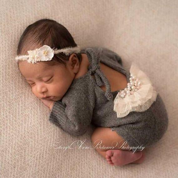 Newborn long sleeve romper onesie beaded sweater by petuniaandivy