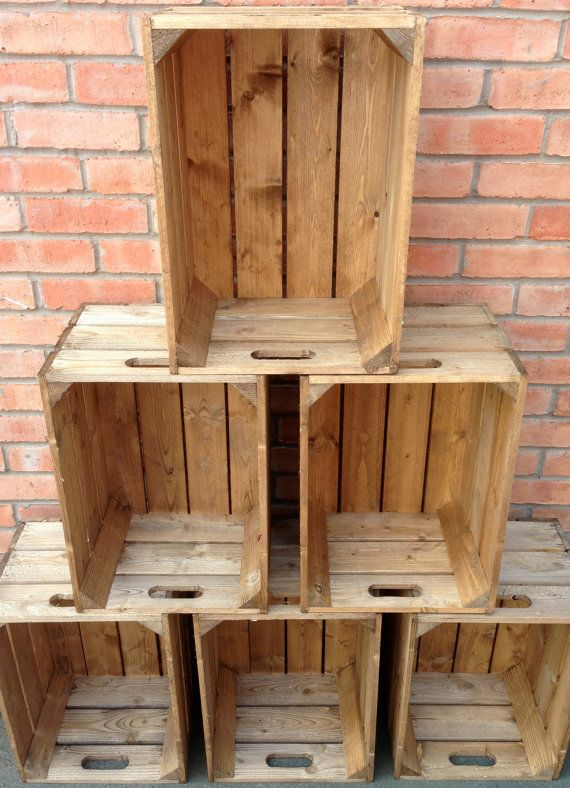 Sturdy and Strong Handmade Wooden Crates. Excellent Quality Crates and Gorgeous Vintage Look. Light Brown Finish. (LH3P).